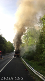 Company 1 responded to this school bus fire on April 18, 2017.