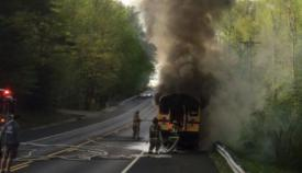 Company 1 responded to this school bus fire on April 18, 2017. Photo courtesy of smnewsnet.com.