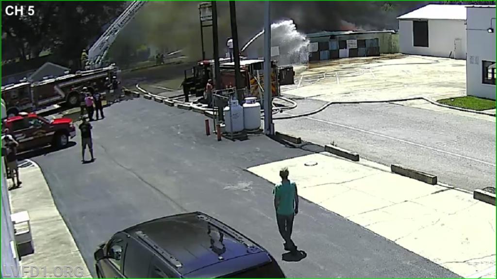 Truck 1 and Engine 11 operating (photo via LVFD CCTV).